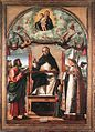 Vittore Carpaccio - St Thomas in Glory between St Mark and St Louis of Toulouse - WGA04336.jpg