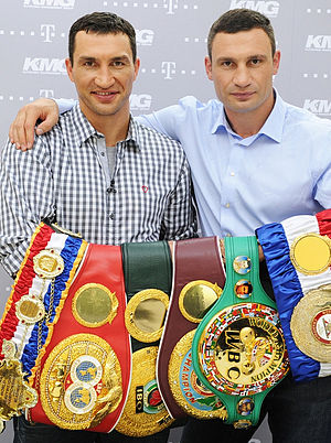 Vitali Klitschko - Wladimir and Vitali with every title in the heavyweight division, 2012. Left to right: The Ring, IBF, IBO, WBO, WBC, and WBA.