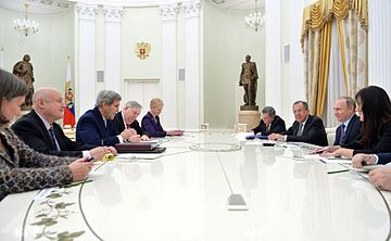 Putin meets with Secretary of State John Kerry, Victoria Nuland and John F. Tefft to discuss Ukraine and other issues in December 2015. Vladimir Putin and John Kerry (2015-12-15) 02.jpg
