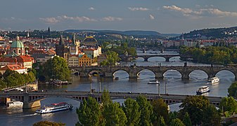 Vltava in Prague at sunset.jpg