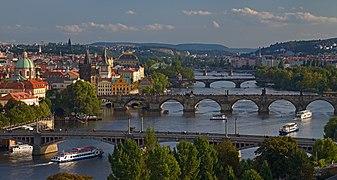 Vltava in Prague at sunset.jpg