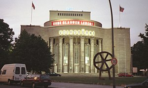 Ulrich Mühe - The Volksbühne in Rosa-Luxemburg-Platz in the borough of Mitte, Berlin, photographed in July 1999.
