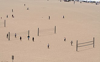 Beach volleyball - Public beach volleyball courts in Santa Monica, where the modern two-man version originated.