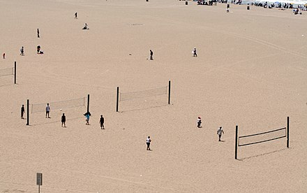 Public beach volleyball courts in Santa Monica, where the modern two-man version originated. Volleyball on the Beach (523163582).jpg