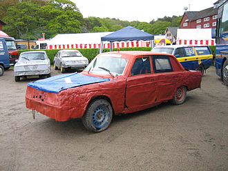 Folkrace - Four typical folk racing cars. Volvo 244 in foreground.