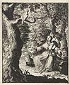 Vrouwelijke pelgrim ziet in het bos een tortelduif.jpeg