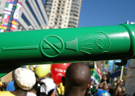 Some vuvuzelas carry a safety warning graphic.