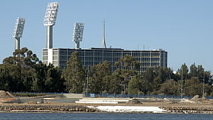 Western Australia Police - Police Headquarters (with WACA ground floodlights)