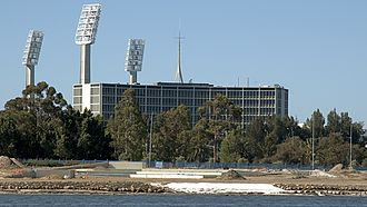 Western Australia Police - Police Headquarters (with WACA ground floodlights in background)