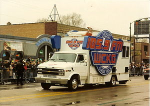 "South Side Irish -  WCKG-FM Radio's ""Rock 'N Roller"" mobile studio the Chicago South Side Irish Parade"