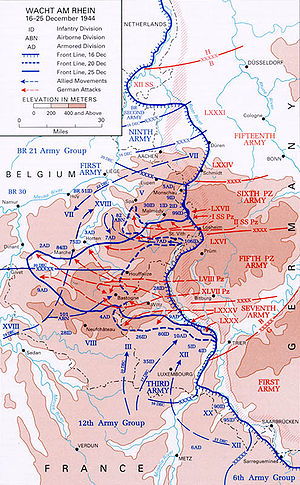 Battle of St. Vith - Progress of the German Ardennes counteroffensive, December 16–25, 1944.