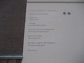 Derek Walcott - Wall poem Midsummer, Tobago in The Hague