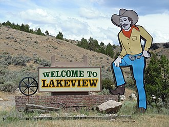 Lakeview, Oregon - Welcome sign at the north end of town