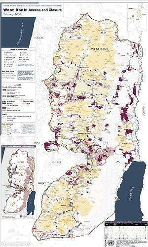 English: Detailed map of Israeli settlements o...