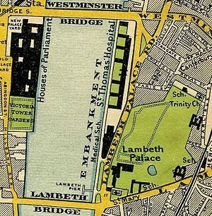 Lambeth - Map of 1897, showing Lambeth Palace and Lambeth Bridge.