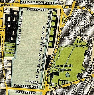 Lambeth Bridge - Map of 1897, showing Lambeth Palace, Lambeth Bridge, the Houses of Parliament and Westminster Bridge