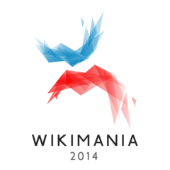 Image shows the blue, white and red logo of Wikimania London