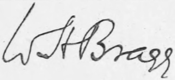 William Henry Braggs signatur