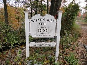 Bedford, Massachusetts - Wilson Mill Site marker