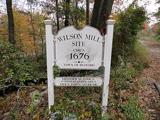Bedford, Massachusetts - Wilson Mill Site marker
