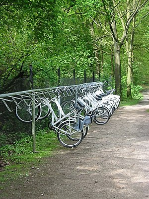 Bicycle parking rack - White cycles for free use in Hoge Veluwe National Park, the Netherlands