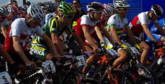 UCI Mountain Bike World Championships - Moments before the start of the under-23 men's cross-country race at the 2009 World Championships in Canberra, Australia. Eventual winner Burry Stander is second from left.