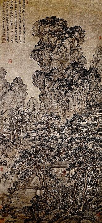 Du Qiong - Du Qiong: Grass House North of the Pool, hanging scroll, 109.9 x 50.1 cm. 1418. Zhejiang Provincial Museum, China