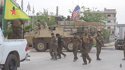 U.S. armored vehicle in Al-Hasakah, Syria, May 2017