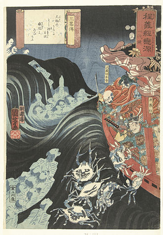 Minamoto no Yoshitsune - Utagawa Kuniyoshi, Yoshitsune and Benkei defending themselves in their boat during a storm created by the ghosts of conquered Taira warriors