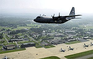 Youngstown–Warren Air Reserve Station - 910th AW C-130 over Youngstown ARB