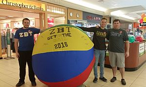 "Zeta Beta Tau - Brothers from Gannon University (Zeta Xi) hosting a ""Get on the Ball"" event at a shopping mall."
