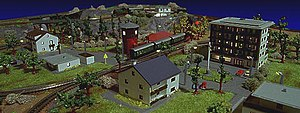 """Z scale - A """"night shot"""" of a coffee-table sized Z scale layout"""