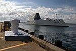 Zumwalt (DDG 1000) arrives at Naval Station Newport, Rhode Island. (29482397641).jpg