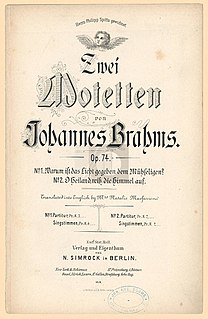 Two Motets, Op. 74 (Brahms) Musical composition by Johannes Brahms