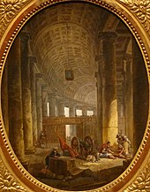 'The Colonnade of Saint Peter's, Rome, during the Conclave' by Hubert Robert, c. 1769.JPG