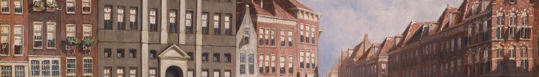 The Markt of 's Hertogenbosch, with its town hall, is famous not only for its unusual triangular shape, but also for changing very little over the centuries, as exemplified by this historic painting.
