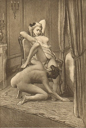Édouard-Henri Avril - Les charmes de Fanny exposés (plate VIII) from Fanny Hill is one of the most famous works of Avril
