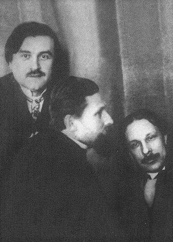 Февралисты («лошкари») Казимир Малевич, Иван Клюн, Алексей Моргунов (слева направо). Москва, 1 марта 1914 года
