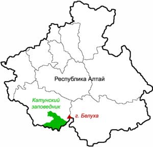 Katun Nature Reserve - Location of Katun Nature Reserve in southwest of Altai Republic