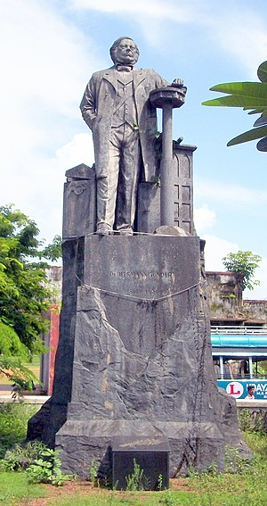 Hermann Gundert - Herman Gundert Statue near Thalassery Stadium - June 2010