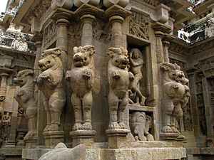 Kanchi Kailasanathar Temple - Typical design of pillar with multi-directional mythical lions.
