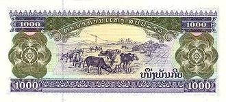 Lao kip - Image: 1000 Laotian kip in 2003 Reverse
