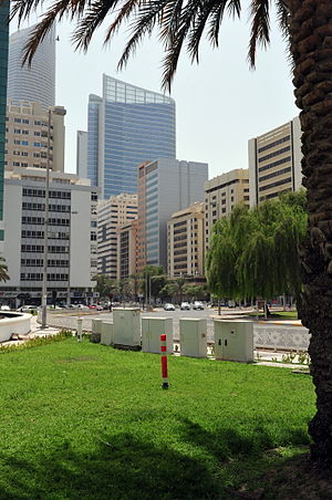 Abu Dhabi, center of town, View to Al Istiqlal Street near Airport Road