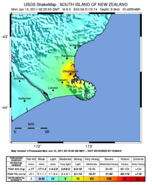 June 2011 Christchurch earthquake - USGS shake map