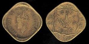 History of the rupee - Half anna (2 paisa) coin; an anna = 4 paisa, George VI series, 1945