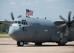 A C-130J Super Hercules taxis onto the flight line at Little Rock AFB after returning from supporting operations in Southwest Asia in September 2015.