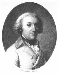 Portrait of a man with light hair, a fair complexion and a slight smile. He wears a white jacket typical of the Austrian general officer; the collar is decorated with brocade.