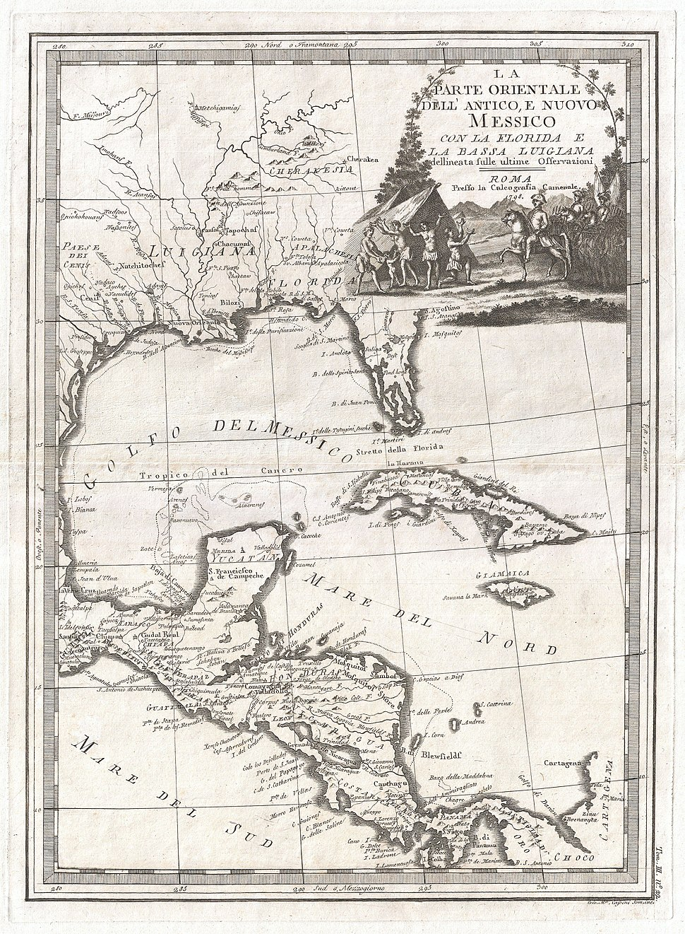 1798 Cassini Map of Florida, Louisiana, Cuba, and Central America - Geographicus - MessicoFlorida-cassini-1798