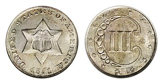 Three-cent nickel - The silver three-cent piece was issued beginning in 1851.