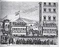 1871-06-15, La Ilustración Española y Americana, Madrid, Inauguración de la tramvía, llegada de los coches á la estacion del barrio de Salamanca.jpg